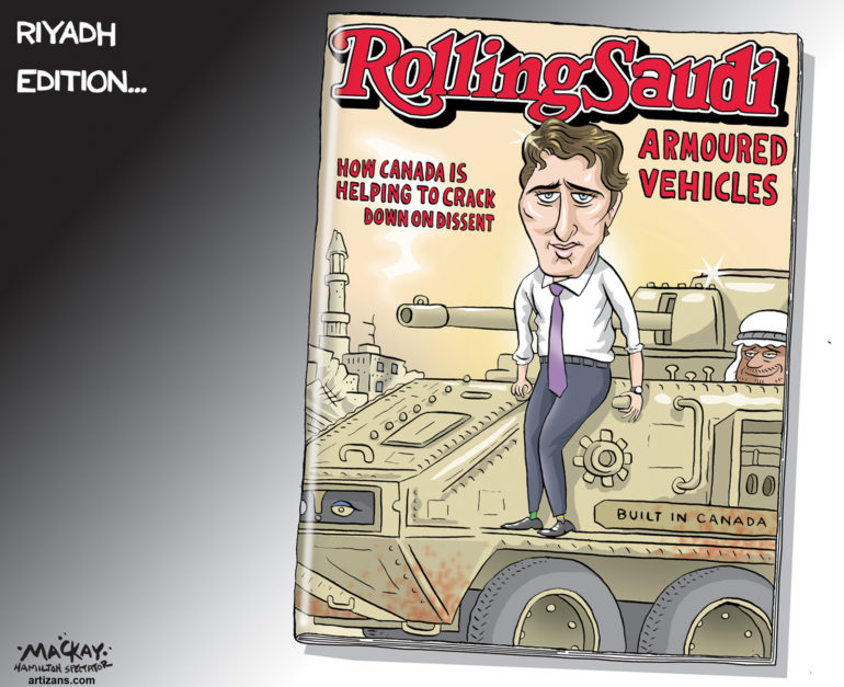 Justin Trudeau sells armoured vehicles for cover shot on Rolling Saudi - Color
