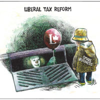 Liberal 'tax reform' clown lures 'small business' child into sewer - Color
