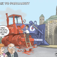 Justin Trudeau uses fresh paint to cover Conservative bulldozer