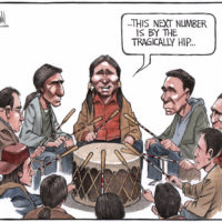First nations drum circle pays homage to Tragically Hip - Color