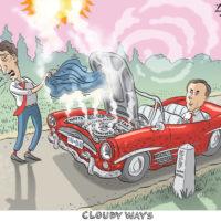 Justin Trudeau tries to fix car while Bill Morneau waits