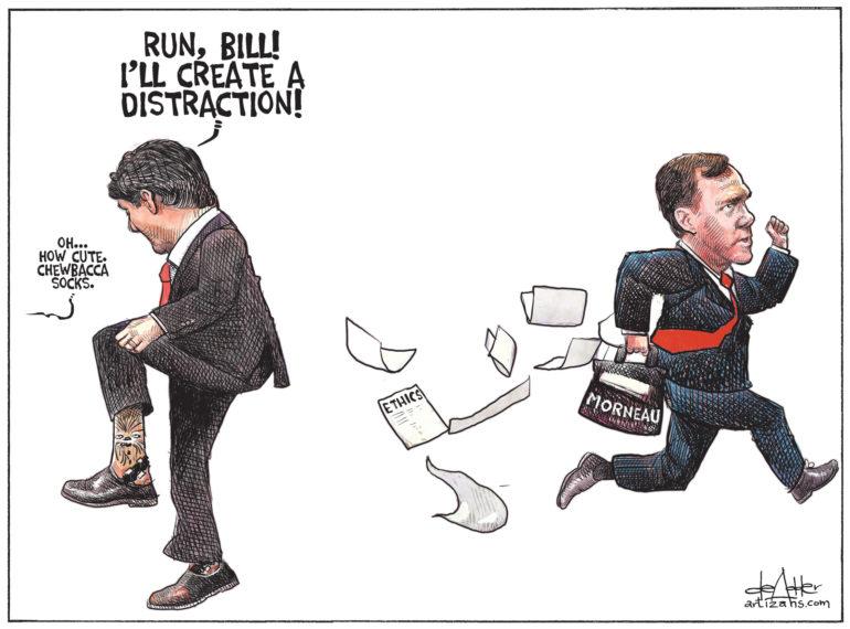 Justin Trudeau creates distraction for Bill Morneau to escape
