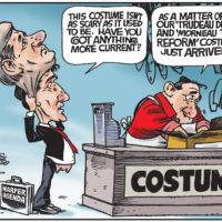 Justin Trudeau wears Stephen Harper costume to distract from tax reform