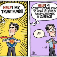 Justin Trudeau plays Superman, but won't defend against Quebec law