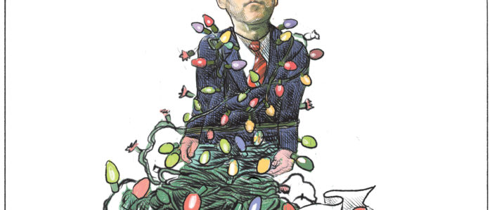 Bill Morneau gets tangled in 'Liberal tax form' Christmas lights - Color