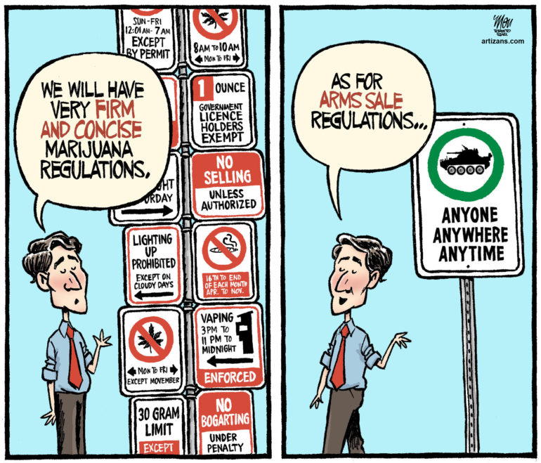 Justin Trudeau compares marijuana legislation with arms sales legislation