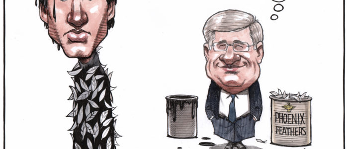 Justin Trudeau gets tarred and feathered by Stephen Harper's 'Phoenix system'