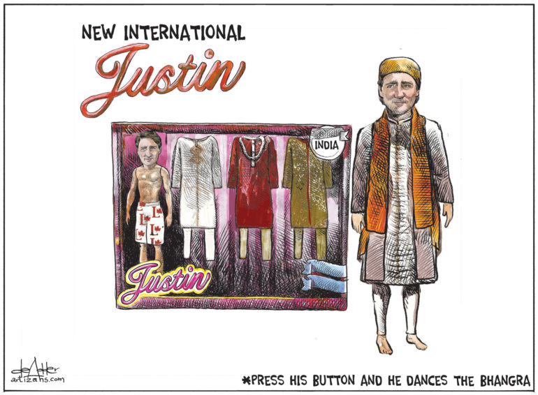 Justin Trudeau doll comes packaged with various costumes