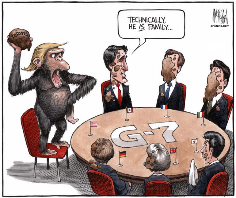 Primate 'Donald Trump' throws 'tariff' feces at G7 allies