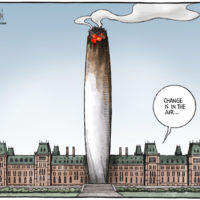 Parliament buildings peace tower is now a smouldering joint - Color