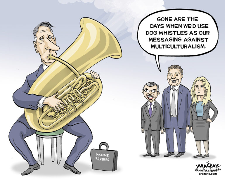 Maxime Bernier now uses tuba to message against multiculturalism