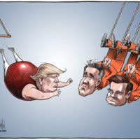 Trump swinging off trapeze reaches for handcuffed Cohen and Manafort