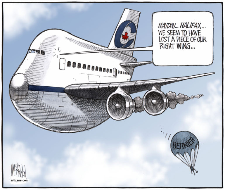 Tory jet loses piece of right wing as Maxime Bernier parachutes away