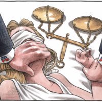 Republicans cover Lady Justice's mouth while holding her down