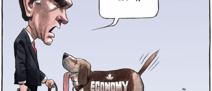'Economy' dog poops 'deficit' as Bill Morneau commands 'sit'