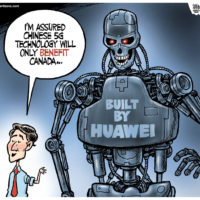 Justin Trudeau approves of China's 5G technology Huawei terminator robot