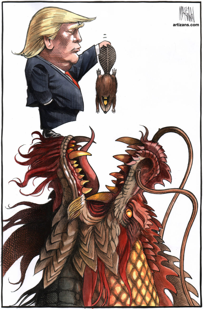 Trump dangles Canadian beaver over mouth of Chinese dragon