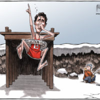 Justin Trudeau's polar bear plunge in election year on frozen pond