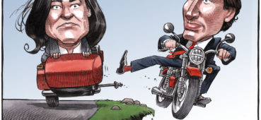 Trudeau drives off cliff while kicking Jody Wilson-Raybould motorcycle sidecar away - Color